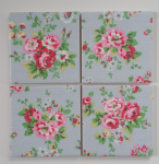 4 Ceramic Coasters in Cath Kidston Spray Flowers Blue